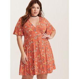 Torrid Jersey Knit Flutter Sleeve Dress